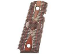 Kimber Elite Grips 1911 Officer, Compact Ambidextrous Safety Cut Laminate Ruby and Charcoal with Kimber Logo