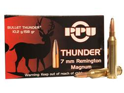 Prvi Partizan Thunder Ammunition 7mm Remington Magnum 158 Grain GROM Soft Point Box of 20