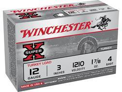 "Winchester Super-X Turkey Ammunition 12 Gauge 3"" 1-7/8 oz #4 Copper Plated Shot"
