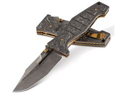 "Benchmade Gold Class 757-151 Vicar Folding Pocket Knife 3.86"" Modified Tanto Point Damascus Blade Carbon Fiber Handle Black"
