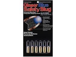 Glaser Blue Safety Slug Ammunition 9x18mm (9mm Makarov) 75 Grain Safety Slug Package of 6