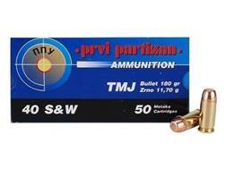 Prvi Partizan Ammunition 40 S&W 180 Grain Full Metal Jacket Box of 50