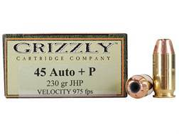 Grizzly Ammunition 45 ACP +P 230 Grain Jacketed Hollow Point Box of 20