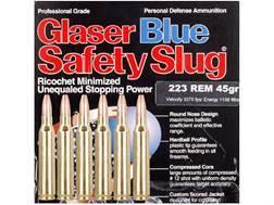 Glaser Blue Safety Slug Ammunition 223 Remington 45 Grain Package of 6