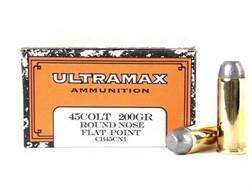 Ultramax Cowboy Action Ammunition 45 Colt (Long Colt) 200 Grain Lead Flat Nose