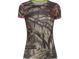 Under Armour Women's EVO HeatGear Crew Shirt Short Sleeve Polyester Mossy Oak Treestand Camo Medium 8-10