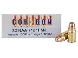 Cor-Bon Performance Match Ammunition 32 North American Arms (NAA) 71 Grain Full Metal Jacket Box of 50