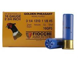 "Fiocchi Golden Pheasant Ammunition 16 Gauge 2-3/4"" 1-1/8 oz #5 Nickel Plated Shot Box of 25"