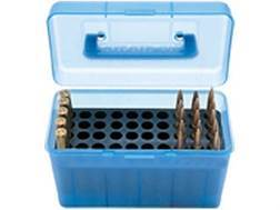 MTM Deluxe Flip-Top Ammo Box with Handle 17 Remington to 222 Remington Magnum 50-Round Plastic Clear-Blue