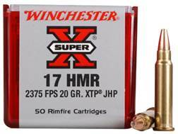 Winchester Super-X Ammunition 17 Hornady Magnum Rimfire (HMR) 20 Grain XTP Jacketed Hollow Point Box of 50