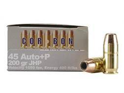 Cor-Bon Self-Defense Ammunition 45 ACP +P 200 Grain Jacketed Hollow Point Box of 20