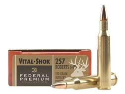 Federal Premium Vital-Shok Ammunition 257 Roberts +P 120 Grain Nosler Partition Box of 20