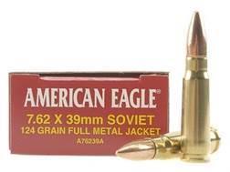 Federal American Eagle Ammunition 7.62x39mm Russian 124 Grain Full Metal Jacket
