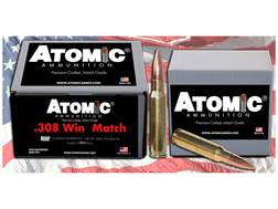 Atomic Match Ammunition 308 Winchester 168 Grain Nosler Custom Competition Hollow Point Boat Tail Bo