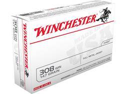 Winchester USA Ammunition 308 Winchester 147 Grain Full Metal Jacket Case of 200 (10 Boxes of 20)