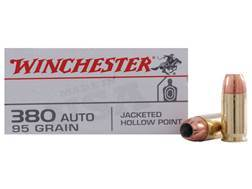 Winchester USA Ammunition 380 ACP 95 Grain Jacketed Hollow Point Box of 50
