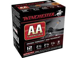 "Winchester AA Light TrAAcker Ammunition 12 Gauge 2-3/4"" 1-1/8 oz #8 Shot Orange Wad"