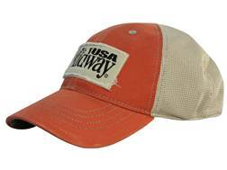 MidwayUSA Mesh Back Cap Cotton Distressed Burnt Orange Front Khaki Mesh Back