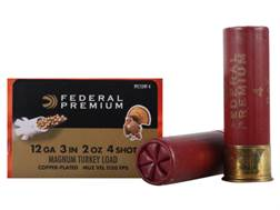 "Federal Premium Mag-Shok Turkey Ammunition 12 Gauge 3"" 2 oz #4 Copper Plated Shot High Velocity Box of 10"