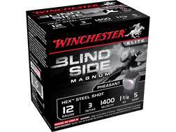 "Winchester Blind Side Pheasant Ammunition 12 Gauge 3"" 1-3/8 oz #5 Non-Toxic Steel Shot Box of 25"