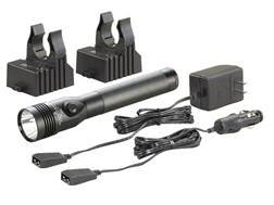 Streamlight Stinger Dual Switch Flashlight LED HL (High Lumens) with Reachargeable Ni-MH Battery with Two Charger Holders and DC Adapter Aluminum Black