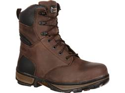"Rocky Forge 8"" Waterproof Steel Toe Work Boots Leather Brown Men's"