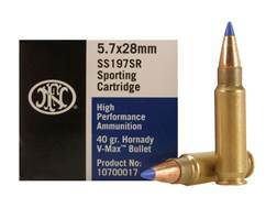 FNH SS197SR Ammunition 5.7x28mm FN 40 Grain Hornady V-Max Box of 50
