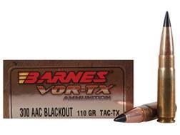 Barnes VOR-TX Ammunition 300 AAC Blackout 110 Grain Tipped TAC-TX Bullet Flat Base Lead-Free Box of 20