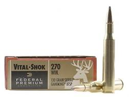 Federal Premium Vital-Shok Ammunition 270 Winchester 130 Grain Sierra GameKing Soft Point Boat Tail Box of 20