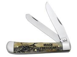 Case Image XX War Iraqi Freedom Trapper Folding Knife Clip and Spey Stainless Steel Blades Antique Bone Handle