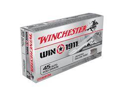 Winchester Win1911 Ammunition 45 ACP 230 Grain Jacketed Hollow Point Box of 50
