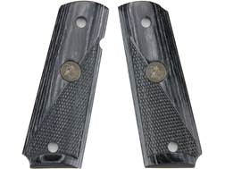 Pachmayr Renegade Laminate Wood Grip 1911 Government, Commander Half Checkered Charcoal Silvertone