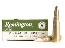 Remington UMC Ammunition 7.62x39mm Russian 123 Grain Full Metal Jacket