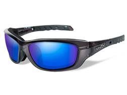 Wiley X WX Gravity Polarized Sunglasses Black Crystal Frame Blue Mirror Lens
