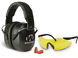 Walker's EXT Folding Range Earmuffs (NRR 34dB) and Shooting Glasses Kit Black
