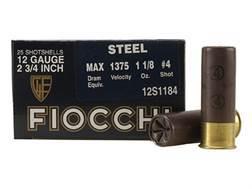 "Fiocchi Exacta Ammunition 12 Gauge 2-3/4"" 1-1/8 oz #4 Steel Shot"