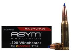 ASYM Precision Solid Defense X Ammunition 308 Winchester 168 Grain Barnes Tipped Triple-Shock X Bullet Boat Tail Box of 20
