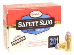 Glaser Blue Safety Slug Ammunition 357 Sig 80 Grain Safety Slug Pack of 20