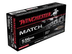 Winchester Match Ammunition 5.56x45mm NATO 77 Grain Sierra MatchKing Hollow Point Boat Tail