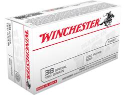Winchester USA Ammunition 38 Special 150 Grain Lead Round Nose Box of 50