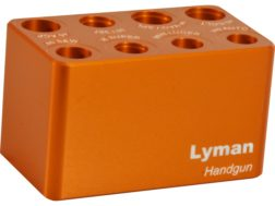 Lyman 8-Hole Handgun Cartridge Checker Gage 380 ACP, 9mm Luger, 38 Super, 40 S&W, 45 ACP, 38 Special, 357 Magnum, 44 Special, 44 Remington Magnum, 45 Colt (Long Colt)