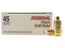 Federal Premium Gold Medal Match Ammunition 45 ACP 185 Grain Full Metal Jacket Semi-Wadcutter