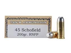 Ten-X Cowboy Ammunition 45 S&W Schofield 200 Grain Round Nose Flat Point Box of 50