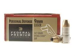 Federal Premium Personal Defense Ammunition 9mm Luger 147 Grain Hydra-Shok Jacketed Hollow Point Box of 20