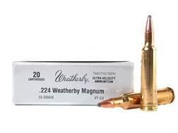 Weatherby Ammunition 224 Weatherby Magnum 55 Grain Hornady InterLock Spire Point Box of 20