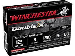 "Winchester Double X Magnum Ammunition 12 Gauge 3"" Buffered 00 Copper Plated Buckshot 15 Pellets Box of 5"