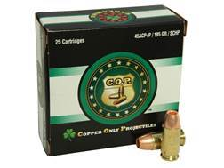 Copper Only Projectiles (C.O.P.) Ammunition 45 ACP +P 185 Grain Solid Copper Hollow Point Lead-Free Box of 25