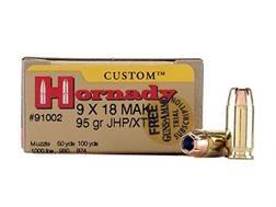 Hornady Custom Ammunition 9x18mm (9mm Makarov) 95 Grain XTP Jacketed Hollow Point Box of 25