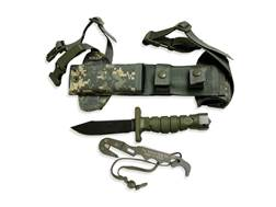 """Ontario ASEK Survival Knife System Tactical 5"""" Drop Point Carbon Steel Blade Polymer Handle Green"""