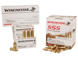 Winchester Ammunition Shooter's Pack 22 Long Rifle and 9mm Luger Box of 705 (555 Rounds 22 Long Rifle and 150 Rounds 9mm Luger)